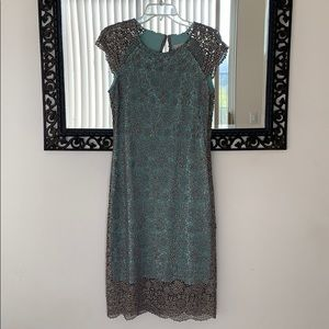 BHLDN silver metallic embroidered teal dress